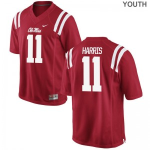 Ole Miss A.J. Harris Jersey Embroidery Kids Limited Red Jersey