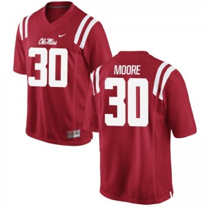 Ole Miss Rebels Game For Men Red A.J. Moore Jerseys