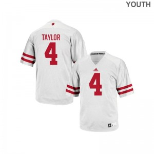 Wisconsin Badgers A.J. Taylor Jerseys White Youth(Kids) Authentic