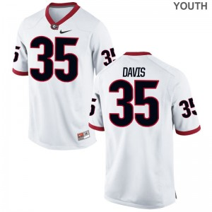Aaron Davis Kids White Jerseys UGA Bulldogs Limited