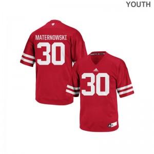 Wisconsin Red Replica For Kids Aaron Maternowski Jerseys
