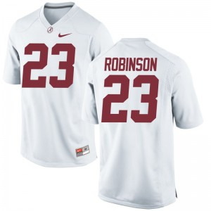 Bama Mens Game White Aaron Robinson Jersey