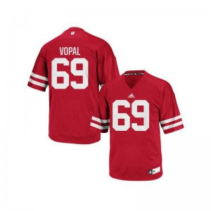 University of Wisconsin Aaron Vopal Authentic For Men Embroidery Jerseys - Red