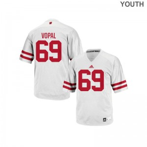 UW Authentic Aaron Vopal Youth Jerseys - White