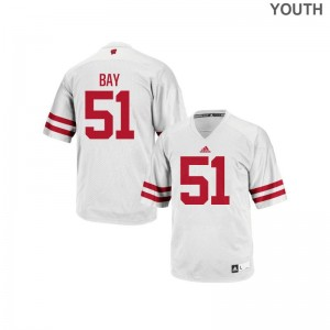 Authentic White Adam Bay Jersey Youth(Kids) University of Wisconsin