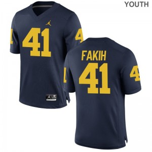 Adam Fakih For Kids Jordan Navy Jerseys Michigan Game