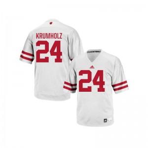 For Men Authentic University Wisconsin Jersey Adam Krumholz White Jersey