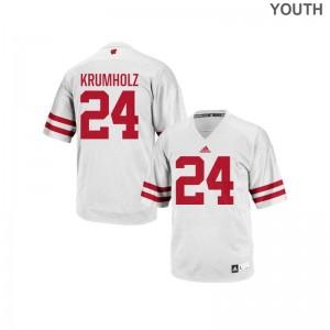 Adam Krumholz Kids Jerseys Replica University of Wisconsin - White