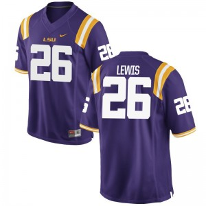 Adam Lewis Game Jerseys Men LSU Purple Jerseys