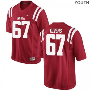 Alex Givens Youth(Kids) Red Jerseys Ole Miss Limited