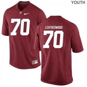 Alabama Alex Leatherwood Game Youth Stitch Jersey - Red