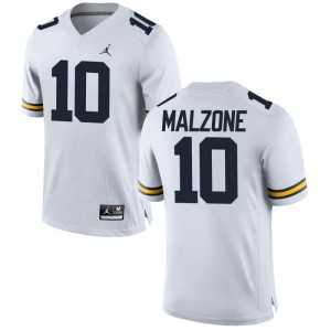 Wolverines Embroidery Alex Malzone Limited Jerseys Jordan White Youth(Kids)