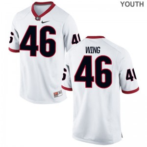 Limited Youth(Kids) Georgia Jerseys Andrew Wing - White