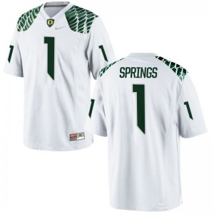 Oregon Ducks Arrion Springs Jersey Player Youth(Kids) Game White Jersey