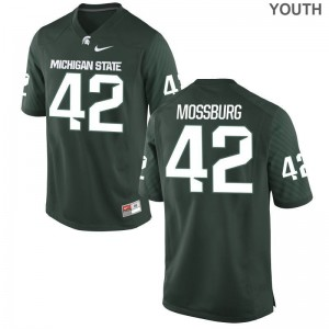 Brent Mossburg Jerseys Michigan State University Green Game Youth Embroidery Jerseys