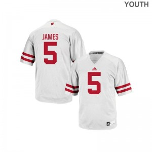 Kids Authentic University of Wisconsin Jersey Chris James - White