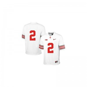 Mens Game Official Ohio State Jersey Dontre Wilson White Diamond Quest Patch Jersey