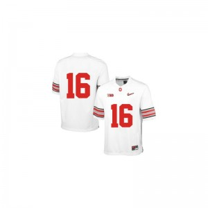 OSU Buckeyes J.T. Barrett Mens Limited Jersey - White Diamond Quest Patch