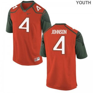 University of Miami Jaquan Johnson Jersey Youth(Kids) Orange Game
