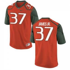 For Men Jeff James Jr. Jersey University of Miami Orange Game