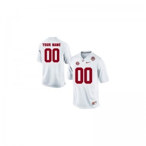 Alabama Crimson Tide Custom Jersey Limited Mens Custom Jersey - White 2013 BCS Patch