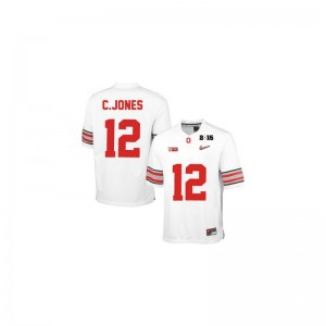 Ohio State Cardale Jones For Men Limited #12 White Diamond Quest 2015 Patch Player Jerseys