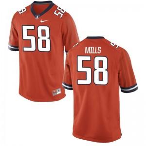 Illinois Fighting Illini Sean Mills Men Game Stitch Jerseys Orange