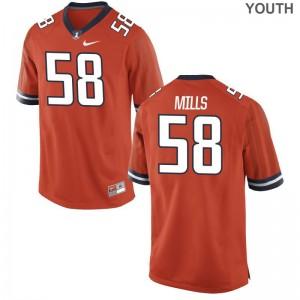 Game Sean Mills Jersey Fighting Illini Youth(Kids) - Orange