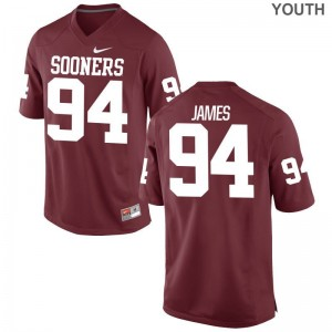 Youth(Kids) Troy James Jersey Crimson Game Oklahoma Jersey