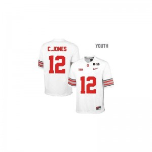 Youth(Kids) Limited Ohio State Jerseys Cardale Jones #12 White Diamond Quest National Champions Patch Jerseys