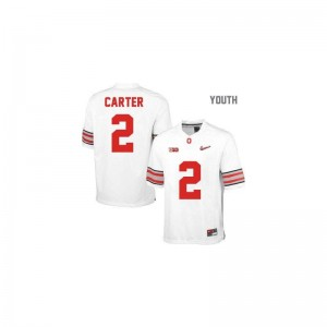 Limited Cris Carter Jerseys Ohio State #2 White Diamond Quest Patch Kids