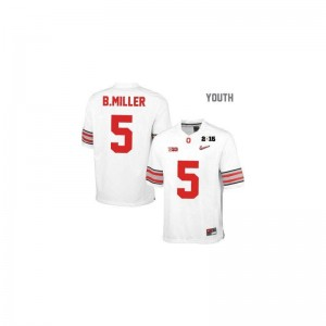 Braxton Miller Youth Jersey Game #5 White Diamond Quest National Champions Patch Ohio State