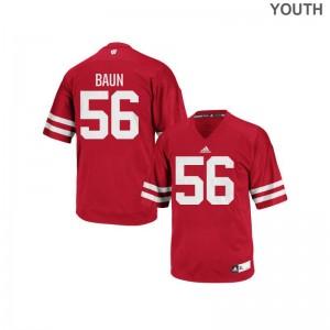 University of Wisconsin Zack Baun Authentic For Kids Jerseys - Red