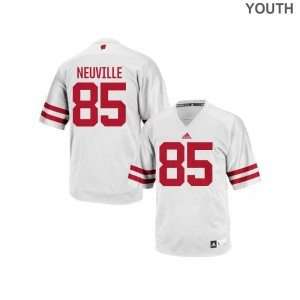Wisconsin Badgers Authentic Zander Neuville For Kids Jersey - White